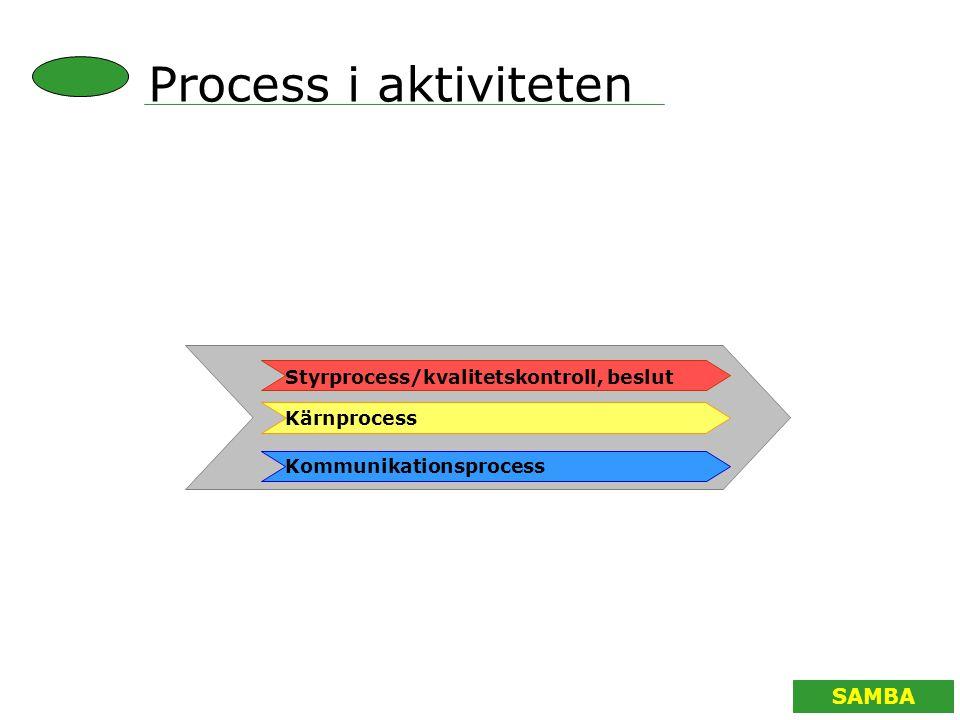 SAMBA Kommunikationsprocess Styrprocess/kvalitetskontroll, beslut Kärnprocess Process i aktiviteten
