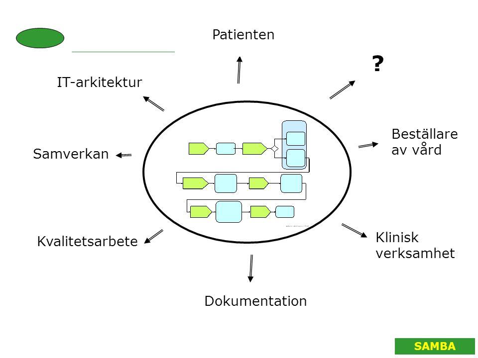 SAMBA Patienten ? Beställare av vård Klinisk verksamhet Dokumentation Kvalitetsarbete Samverkan IT-arkitektur