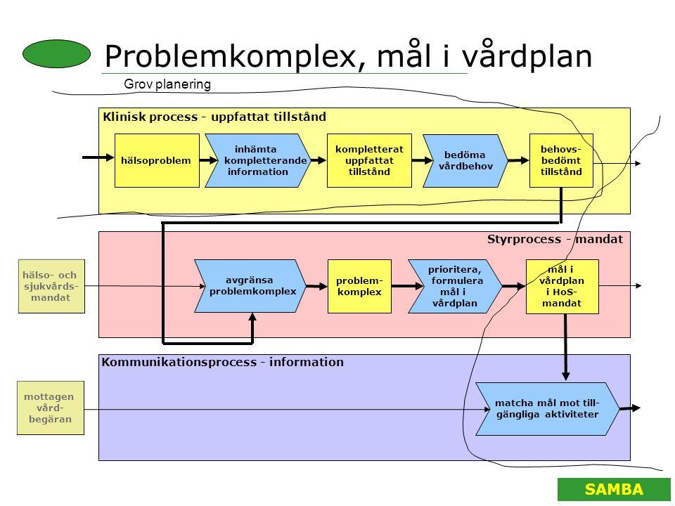 SAMBA Problemkomplex, mål i vårdplan Grov planering inhämta kompletterande information kompletterat uppfattat tillstånd avgränsa problemkomplex mål i