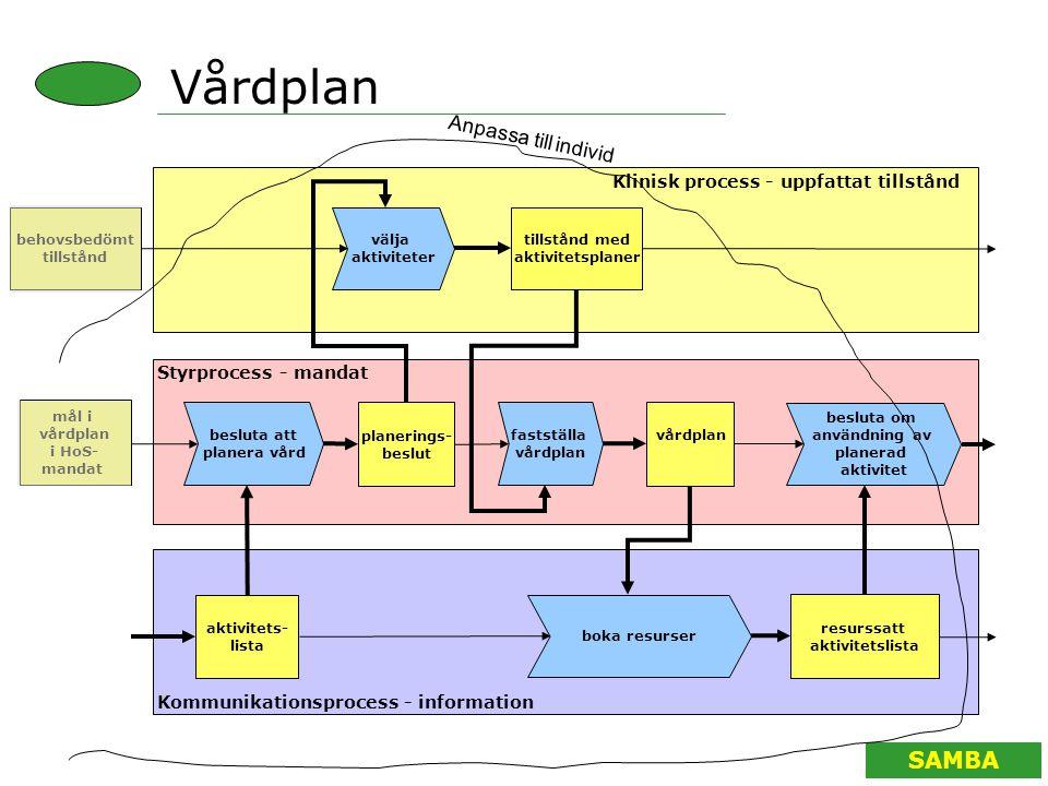 SAMBA Vårdplan välja aktiviteter besluta att planera vård planerings- beslut Klinisk process - uppfattat tillstånd Styrprocess - mandat Kommunikations
