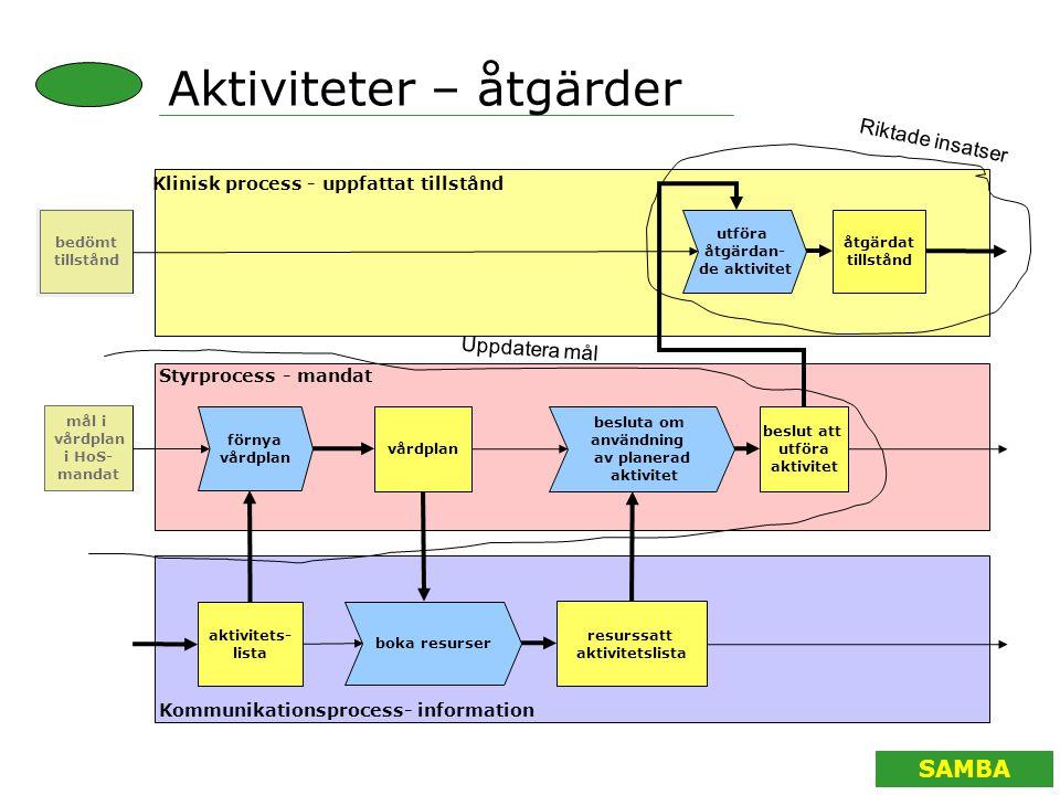 SAMBA Aktiviteter – åtgärder utföra åtgärdan- de aktivitet vårdplan Klinisk process - uppfattat tillstånd Styrprocess - mandat Kommunikationsprocess-