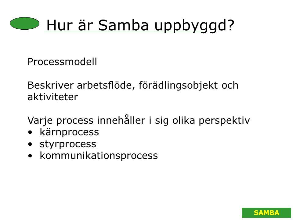 SAMBA Processmodell Beskriver arbetsflöde, förädlingsobjekt och aktiviteter Varje process innehåller i sig olika perspektiv kärnprocess styrprocess ko
