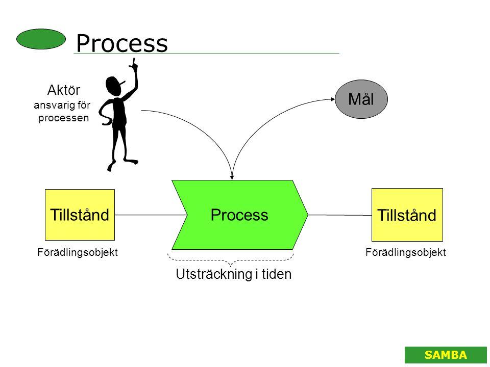 SAMBA Process Tillstånd Mål Aktör ansvarig för processen Tillstånd Utsträckning i tiden Förädlingsobjekt