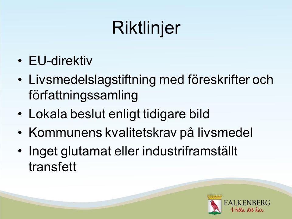 Riktlinjer EU-direktiv Livsmedelslagstiftning med föreskrifter och författningssamling Lokala beslut enligt tidigare bild Kommunens kvalitetskrav på livsmedel Inget glutamat eller industriframställt transfett