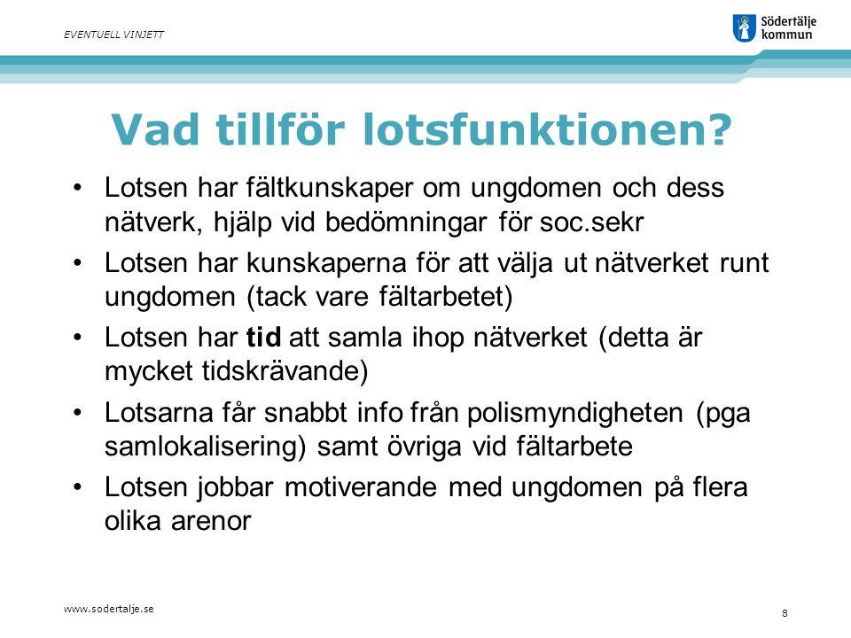 www.sodertalje.se 8 EVENTUELL VINJETT Vad tillför lotsfunktionen? Lotsen har fältkunskaper om ungdomen och dess nätverk, hjälp vid bedömningar för soc