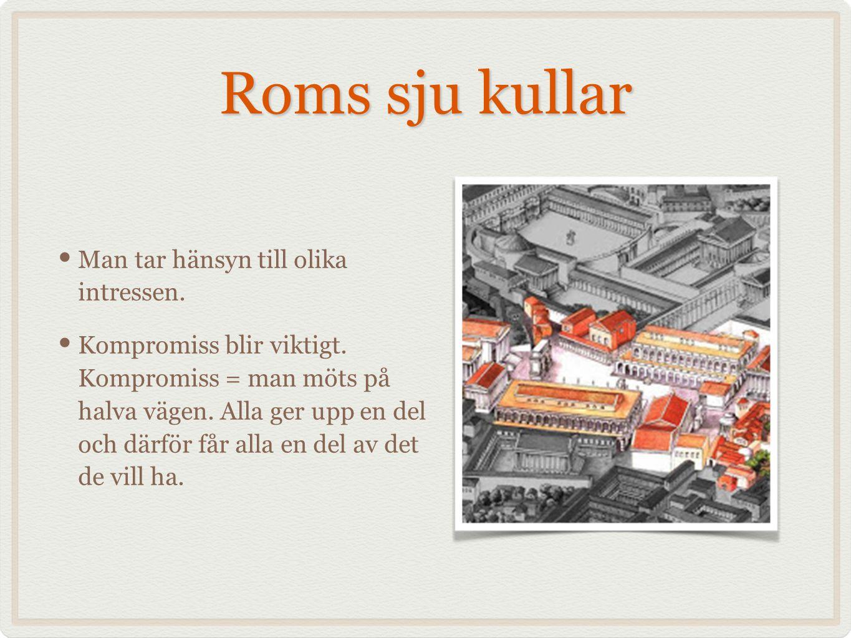 Roms sju kullar Man tar hänsyn till olika intressen. Kompromiss blir viktigt. Kompromiss = man möts på halva vägen. Alla ger upp en del och därför får