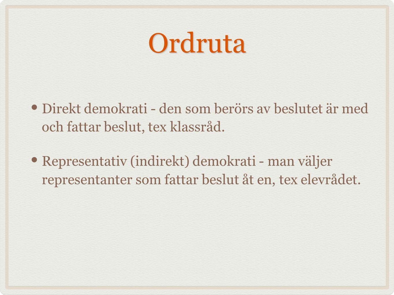 Ordruta Direkt demokrati - den som berörs av beslutet är med och fattar beslut, tex klassråd. Representativ (indirekt) demokrati - man väljer represen