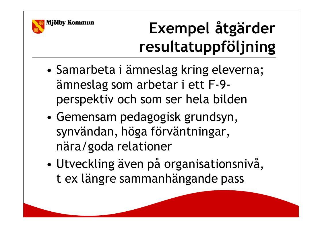 Exempel åtgärder resultatuppföljning Samarbeta i ämneslag kring eleverna; ämneslag som arbetar i ett F-9- perspektiv och som ser hela bilden Gemensam pedagogisk grundsyn, synvändan, höga förväntningar, nära/goda relationer Utveckling även på organisationsnivå, t ex längre sammanhängande pass