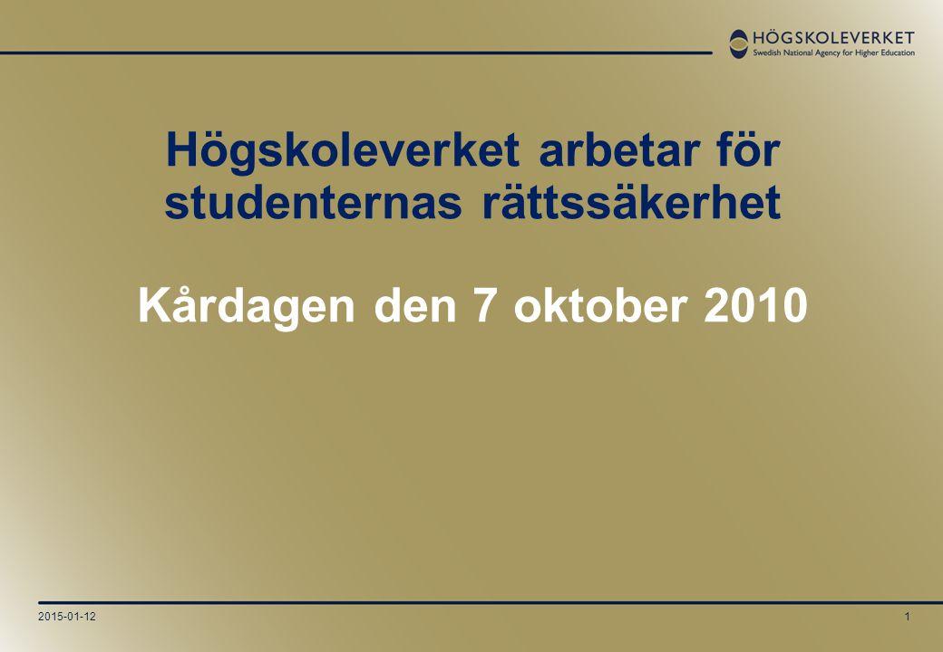 2015-01-121 Högskoleverket arbetar för studenternas rättssäkerhet Kårdagen den 7 oktober 2010
