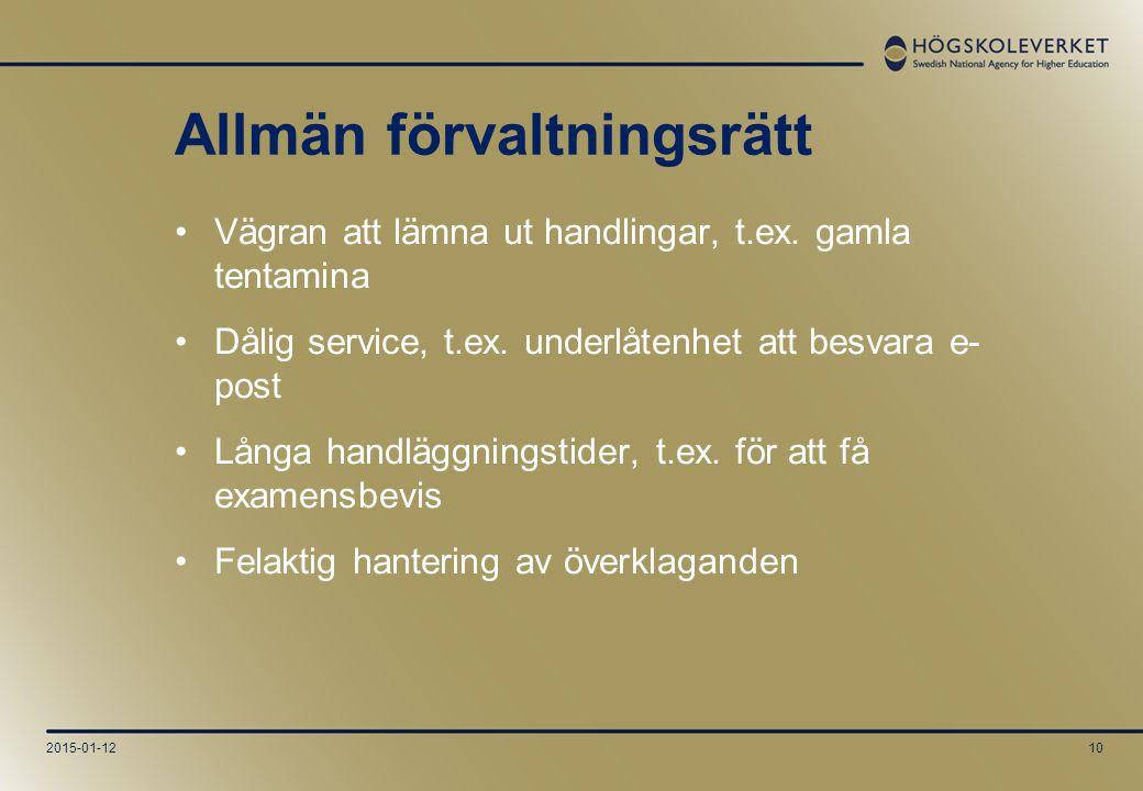 2015-01-1210 Allmän förvaltningsrätt Vägran att lämna ut handlingar, t.ex.