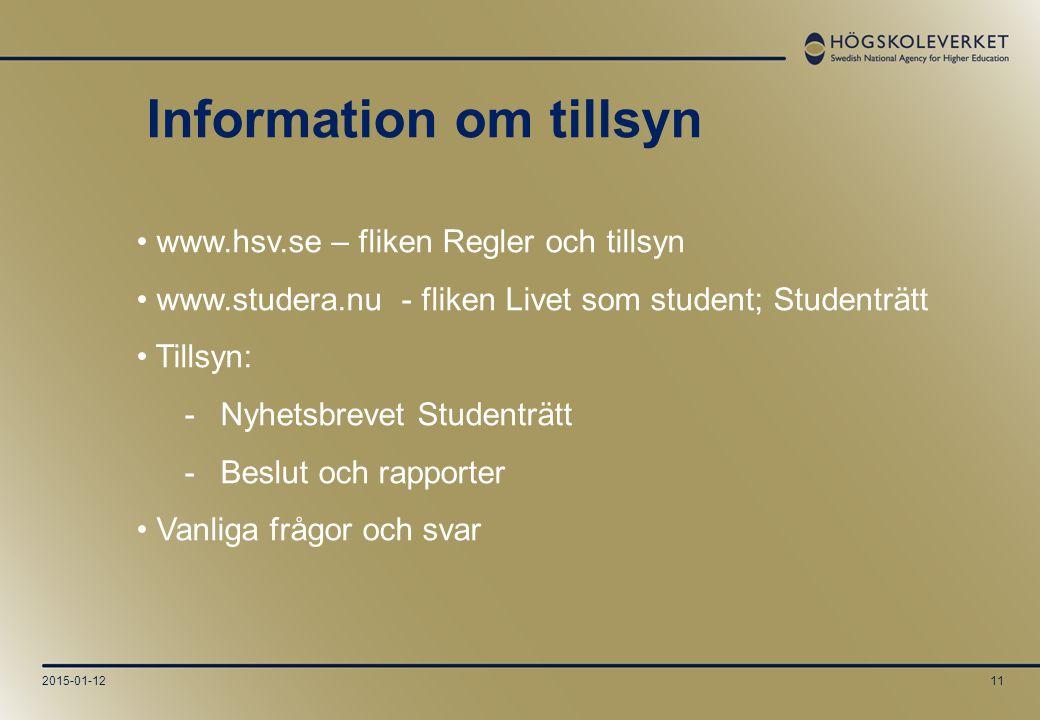 2015-01-1211 www.hsv.se – fliken Regler och tillsyn www.studera.nu - fliken Livet som student; Studenträtt Tillsyn: -Nyhetsbrevet Studenträtt -Beslut och rapporter Vanliga frågor och svar Information om tillsyn
