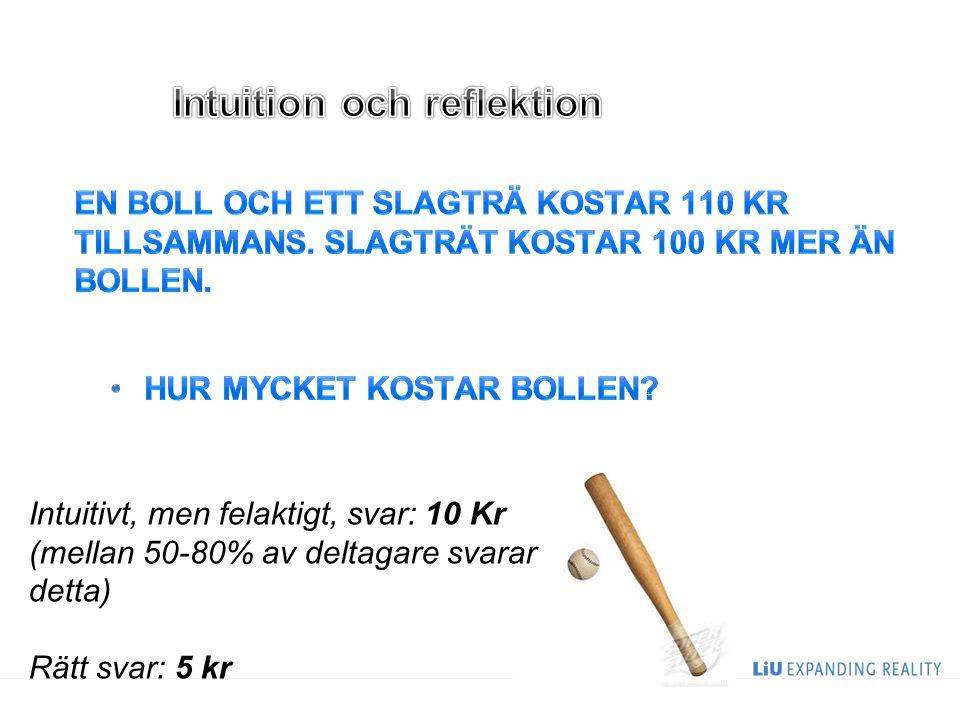 Intuitivt, men felaktigt, svar: 10 Kr (mellan 50-80% av deltagare svarar detta) Rätt svar: 5 kr