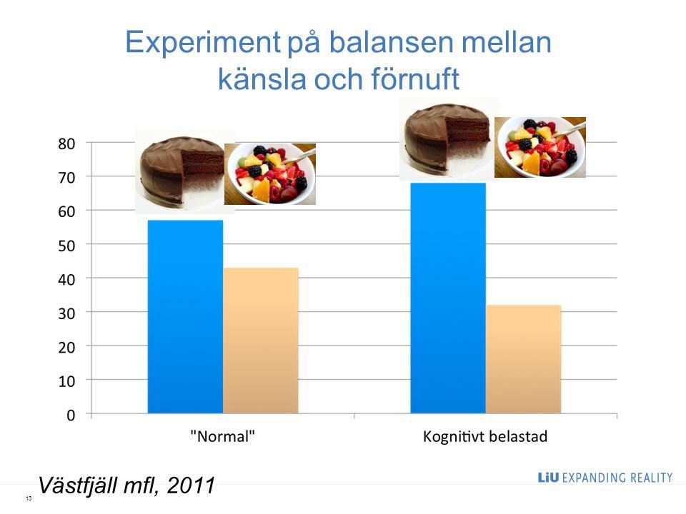 Experiment på balansen mellan känsla och förnuft 13 Västfjäll mfl, 2011