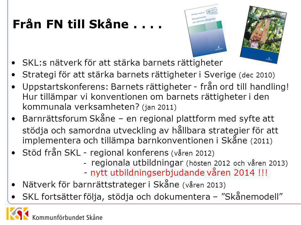 Från FN till Skåne.... SKL:s nätverk för att stärka barnets rättigheter Strategi för att stärka barnets rättigheter i Sverige (dec 2010) Uppstartskonf