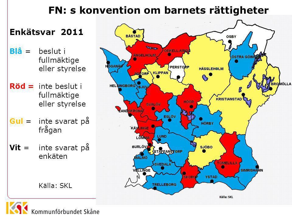 Enkätsvar 2013 Blå = beslut i fullmäktige eller styrelse Röd= inte beslut i fullmäktige eller styrelse Vit= inte svarat på enkäten Källa: SKL FN: s konvention om barnets rättigheter