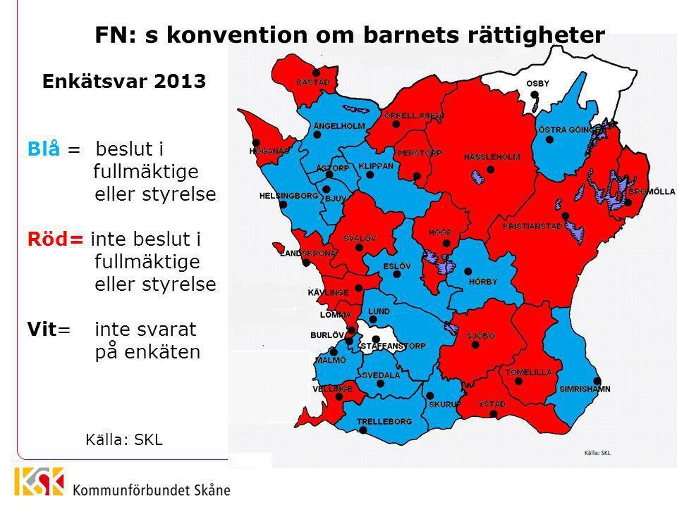 Enkätsvar 2013 Blå = beslut i fullmäktige eller styrelse Röd= inte beslut i fullmäktige eller styrelse Vit= inte svarat på enkäten Källa: SKL FN: s ko