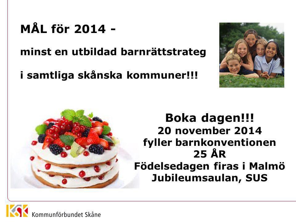 MÅL för 2014 - minst en utbildad barnrättstrateg i samtliga skånska kommuner!!! Boka dagen!!! 20 november 2014 fyller barnkonventionen 25 ÅR Födelseda