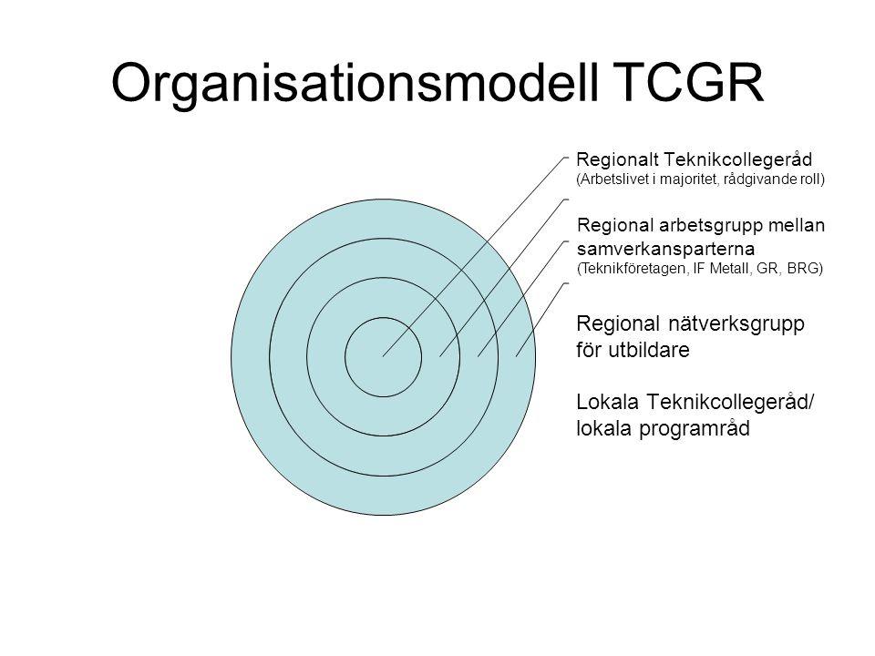 Organisationsmodell TCGR Regionalt Teknikcollegeråd (Arbetslivet i majoritet, rådgivande roll) Regional nätverksgrupp för utbildare Lokala Teknikcollegeråd/ lokala programråd Regional arbetsgrupp mellan samverkansparterna (Teknikföretagen, IF Metall, GR, BRG)