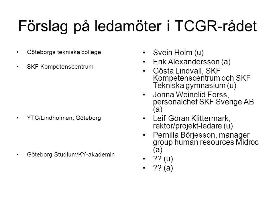 Förslag på ledamöter i TCGR-rådet Göteborgs tekniska college SKF Kompetenscentrum YTC/Lindholmen, Göteborg Göteborg Studium/KY-akademin Svein Holm (u) Erik Alexandersson (a) Gösta Lindvall, SKF Kompetenscentrum och SKF Tekniska gymnasium (u) Jonna Weinelid Forss, personalchef SKF Sverige AB (a) Leif-Göran Klittermark, rektor/projekt-ledare (u) Pernilla Börjesson, manager group human resources Midroc (a) .