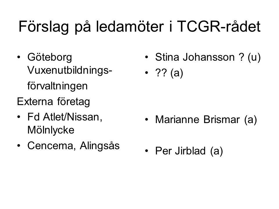 Förslag på ledamöter i TCGR-rådet Göteborg Vuxenutbildnings- förvaltningen Externa företag Fd Atlet/Nissan, Mölnlycke Cencema, Alingsås Stina Johansson .