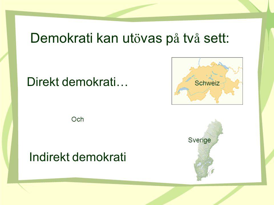 Demokrati kan ut ö vas p å tv å sett: Direkt demokrati… Och Indirekt demokrati Schweiz Sverige