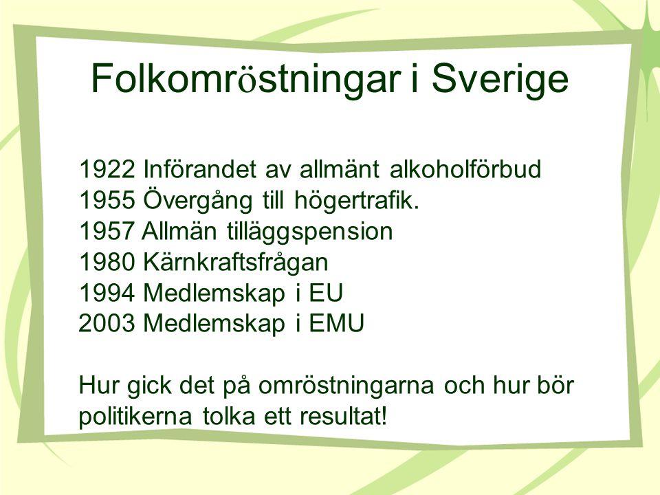Folkomr ö stningar i Sverige 1922 Införandet av allmänt alkoholförbud 1955 Övergång till högertrafik. 1957 Allmän tilläggspension 1980 Kärnkraftsfråga