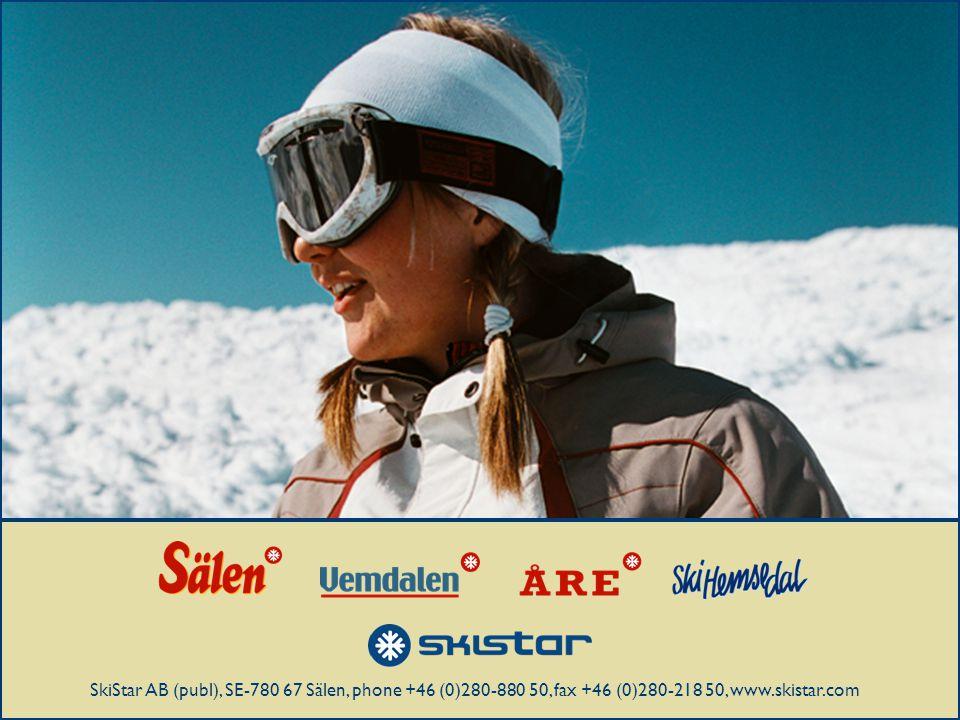 Startbild SkiStar AB (publ), SE-780 67 Sälen, phone +46 (0)280-880 50, fax +46 (0)280-218 50, www.skistar.com