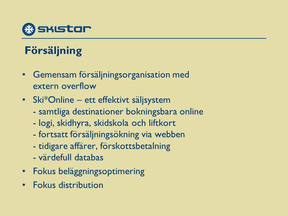 Försäljning Gemensam försäljningsorganisation med extern overflow Ski*Online – ett effektivt säljsystem - samtliga destinationer bokningsbara online - logi, skidhyra, skidskola och liftkort - fortsatt försäljningsökning via webben - tidigare affärer, förskottsbetalning - värdefull databas Fokus beläggningsoptimering Fokus distribution