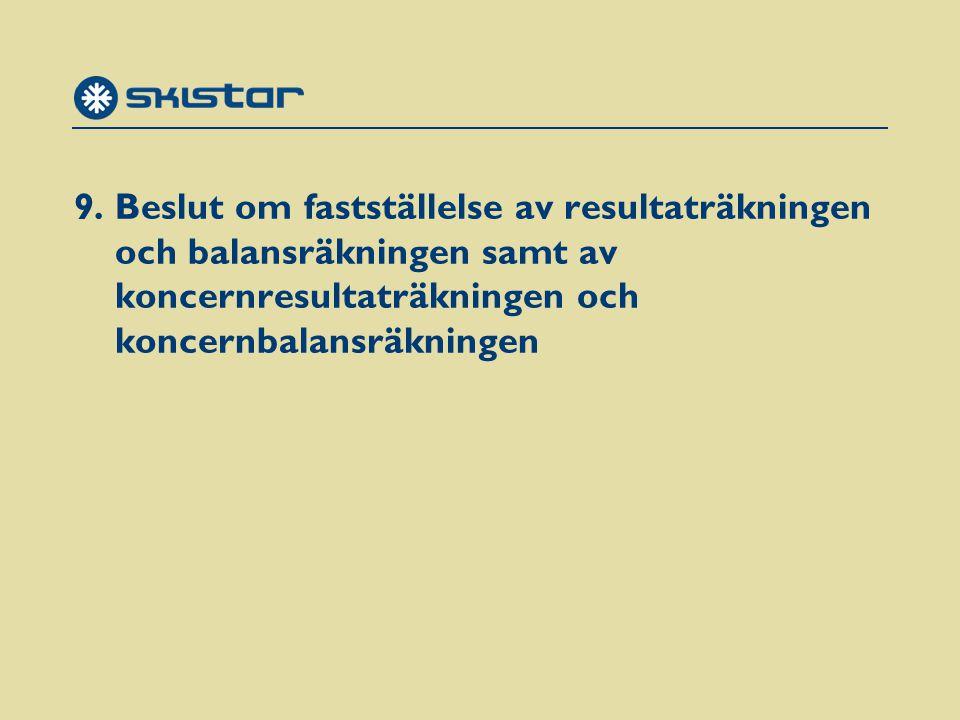 9. Beslut om fastställelse av resultaträkningen och balansräkningen samt av koncernresultaträkningen och koncernbalansräkningen
