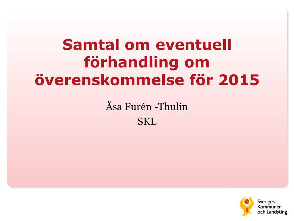 Samtal om eventuell förhandling om överenskommelse för 2015 Åsa Furén -Thulin SKL
