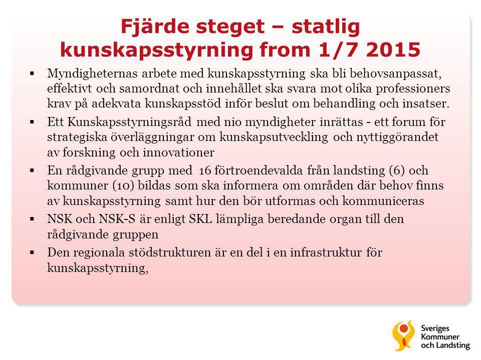 Fjärde steget – statlig kunskapsstyrning from 1/7 2015  Myndigheternas arbete med kunskapsstyrning ska bli behovsanpassat, effektivt och samordnat oc