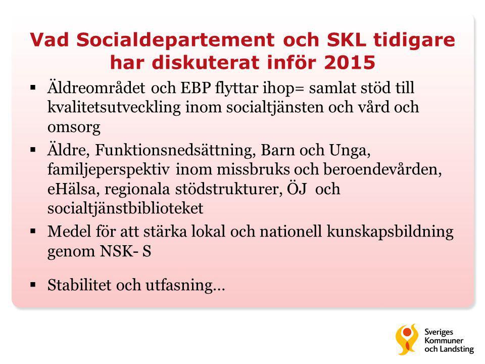 Vad Socialdepartement och SKL tidigare har diskuterat inför 2015  Äldreområdet och EBP flyttar ihop= samlat stöd till kvalitetsutveckling inom socialtjänsten och vård och omsorg  Äldre, Funktionsnedsättning, Barn och Unga, familjeperspektiv inom missbruks och beroendevården, eHälsa, regionala stödstrukturer, ÖJ och socialtjänstbiblioteket  Medel för att stärka lokal och nationell kunskapsbildning genom NSK- S  Stabilitet och utfasning…