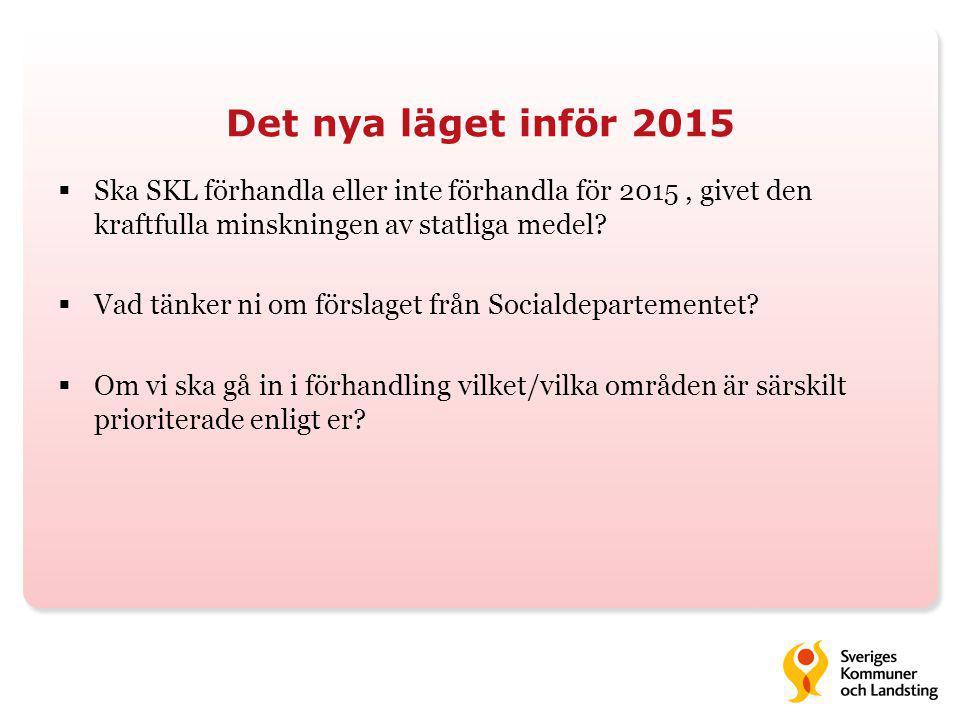 Det nya läget inför 2015  Ska SKL förhandla eller inte förhandla för 2015, givet den kraftfulla minskningen av statliga medel?  Vad tänker ni om för