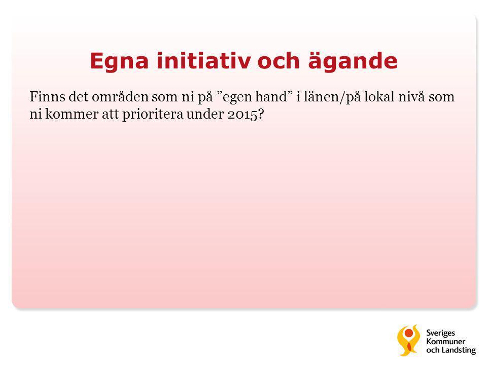 """Egna initiativ och ägande Finns det områden som ni på """"egen hand"""" i länen/på lokal nivå som ni kommer att prioritera under 2015?"""
