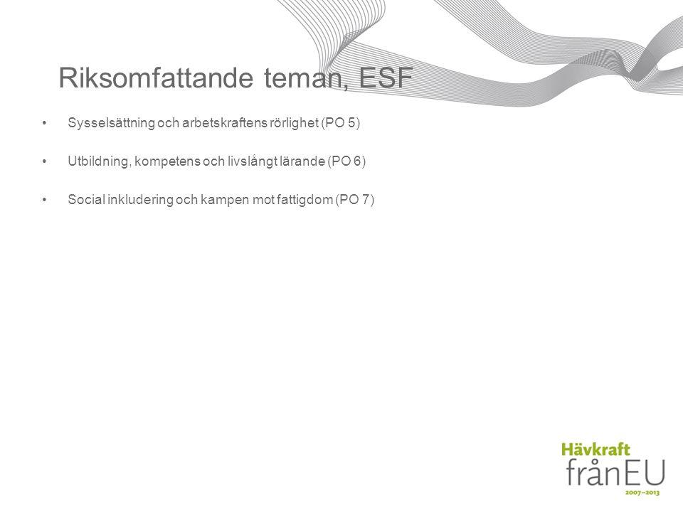 Riksomfattande teman, ESF Sysselsättning och arbetskraftens rörlighet (PO 5) Utbildning, kompetens och livslångt lärande (PO 6) Social inkludering och kampen mot fattigdom (PO 7)