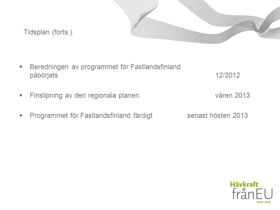 Tidsplan (forts.)  Beredningen av programmet för Fastlandsfinland påbörjats12/2012  Finslipning av den regionala planenvåren 2013  Programmet för Fastlandsfinland färdigtsenast hösten 2013