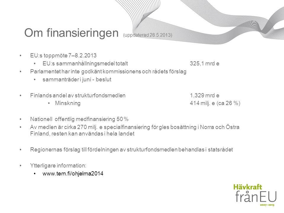 Om finansieringen (uppdaterad 28.5.2013) EU:s toppmöte 7–8.2.2013 EU:s sammanhållningsmedel totalt 325,1 mrd e Parlamentet har inte godkänt kommissionens och rådets förslag sammanträder i juni - beslut Finlands andel av strukturfondsmedlen1,329 mrd e Minskning 414 milj.