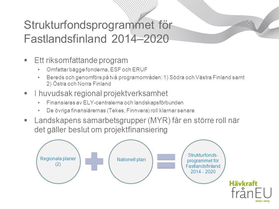 Strukturfondsprogrammet för Fastlandsfinland 2014–2020  Ett riksomfattande program Omfattar bägge fonderna, ESF och ERUF Bereds och genomförs på två programområden: 1) Södra och Västra Finland samt 2) Östra och Norra Finland  I huvudsak regional projektverksamhet Finansieras av ELY-centralerna och landskapsförbunden De övriga finansiärernas (Tekes, Finnvera) roll klarnar senare  Landskapens samarbetsgrupper (MYR) får en större roll när det gäller beslut om projektfinansiering Regionala planer (2) Nationell plan Strukturfonds- programmet för Fastlandsfinland 2014 - 2020