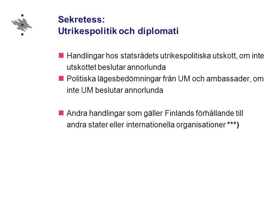 Sekretess: Utrikespolitik och diplomati Handlingar hos statsrådets utrikespolitiska utskott, om inte utskottet beslutar annorlunda Politiska lägesbedömningar från UM och ambassader, om inte UM beslutar annorlunda Andra handlingar som gäller Finlands förhållande till andra stater eller internationella organisationer ***)