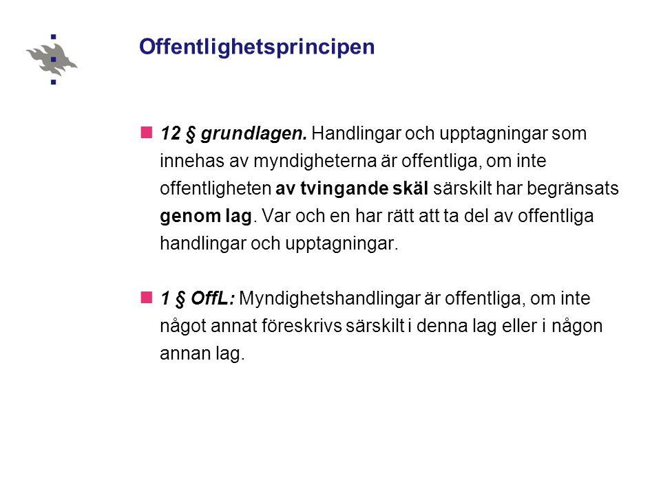 Offentlighetsprincipen 12 § grundlagen.