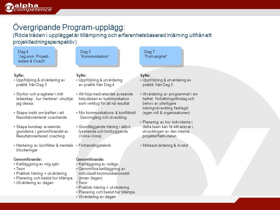 """Övergripande Program-upplägg: (Röda tråden i upplägget är tillämpning och erfarenhetsbaserad inlärning utifrån ett projektledningsperspektiv) Dag 5 """"K"""
