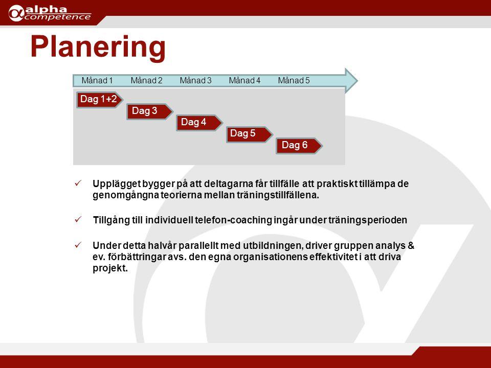 Planering Månad 1Månad 2Månad 3Månad 4Månad 5 Dag 1+2 Dag 3 Dag 4 Dag 5 Dag 6 Upplägget bygger på att deltagarna får tillfälle att praktiskt tillämpa