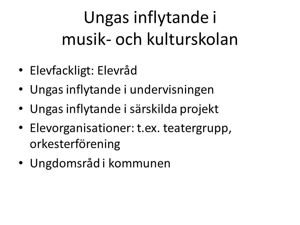 Ungas inflytande i musik- och kulturskolan Elevfackligt: Elevråd Ungas inflytande i undervisningen Ungas inflytande i särskilda projekt Elevorganisationer: t.ex.