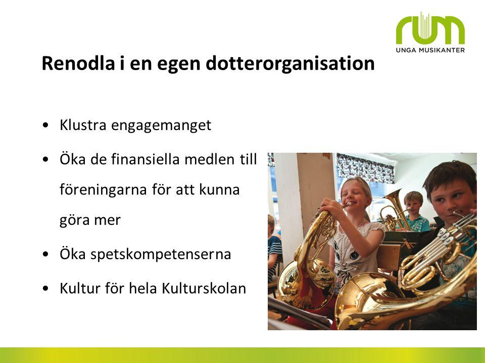 Renodla i en egen dotterorganisation Klustra engagemanget Öka de finansiella medlen till föreningarna för att kunna göra mer Öka spetskompetenserna Kultur för hela Kulturskolan