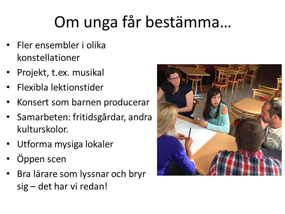 Exempel på projekt Demokratiarbete i orkester för unga med funktionsnedsättningar Unga planerar och producerar konsert Unga planerar läger Unga deltar i kulturskolans hela läsårsplanering.