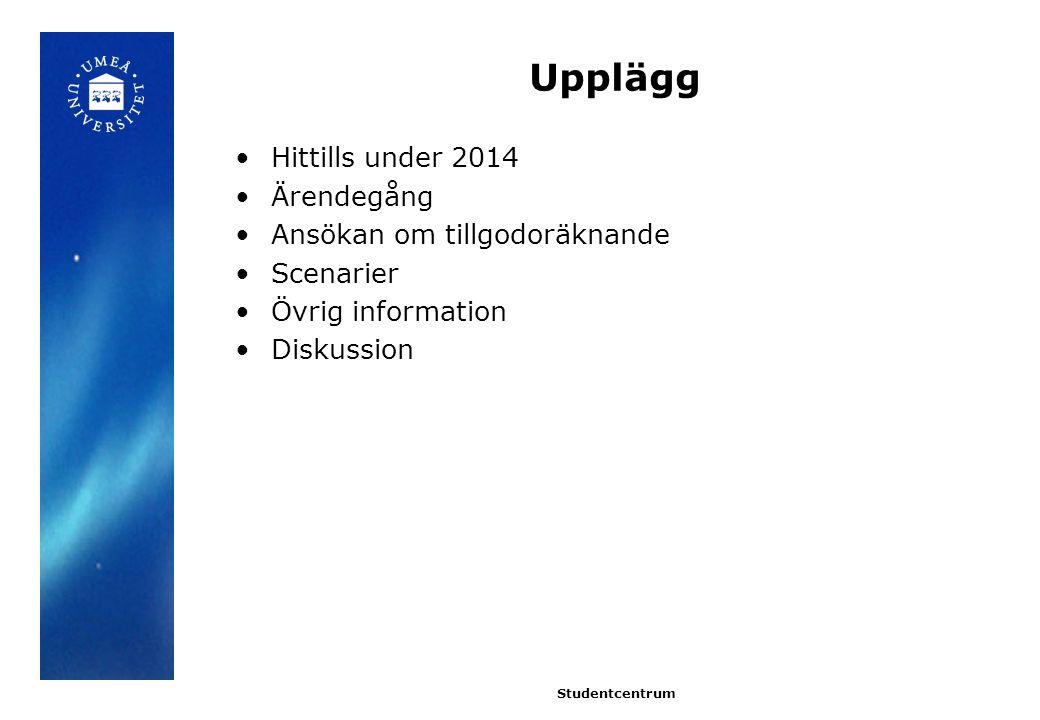 Upplägg Hittills under 2014 Ärendegång Ansökan om tillgodoräknande Scenarier Övrig information Diskussion Studentcentrum