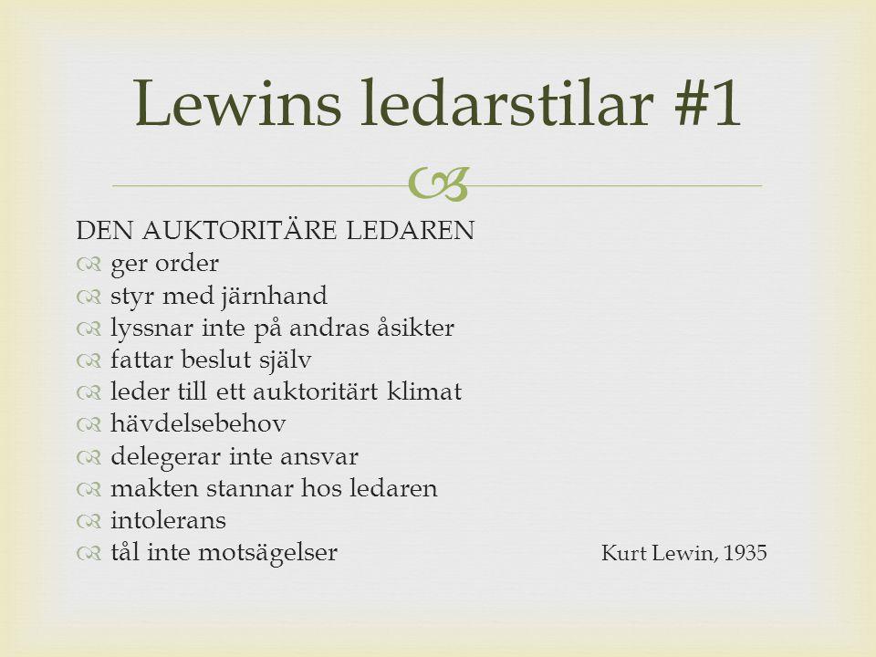  LAISSEZ FAIRE-LEDAREN  brister i ledarrollen  djungelns lag  kan vara valt  klarar inte av ledarrollen  passiv  vill inte ta ansvar  vill inte fatta beslut  bryr sig inte om medarbetarna  fokuserar inte på resultat  vänder kappan efter vindenKurt Lewin, 1935 Lewins ledarstilar #2