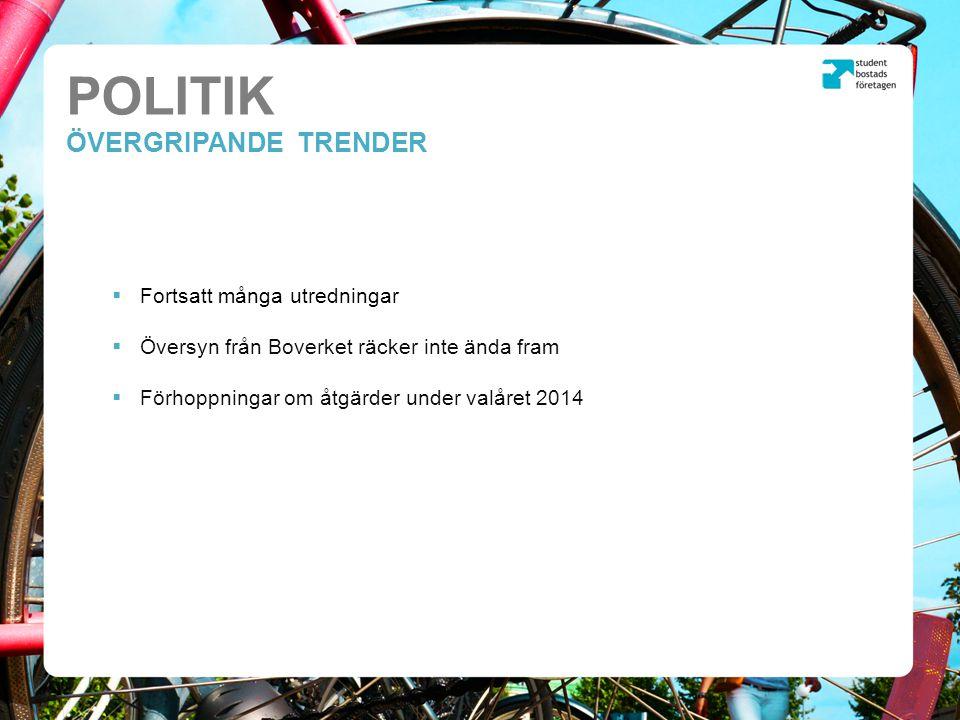 POLITIK ÖVERGRIPANDE TRENDER  Fortsatt många utredningar  Översyn från Boverket räcker inte ända fram  Förhoppningar om åtgärder under valåret 2014