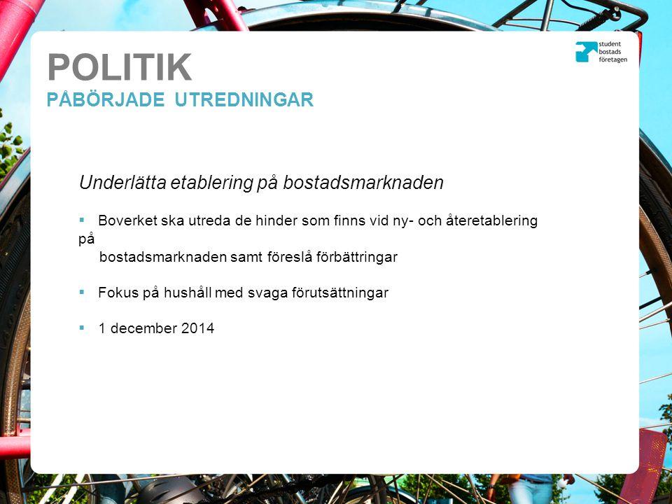 POLITIK PÅBÖRJADE UTREDNINGAR Underlätta etablering på bostadsmarknaden  Boverket ska utreda de hinder som finns vid ny- och återetablering på bostadsmarknaden samt föreslå förbättringar  Fokus på hushåll med svaga förutsättningar  1 december 2014