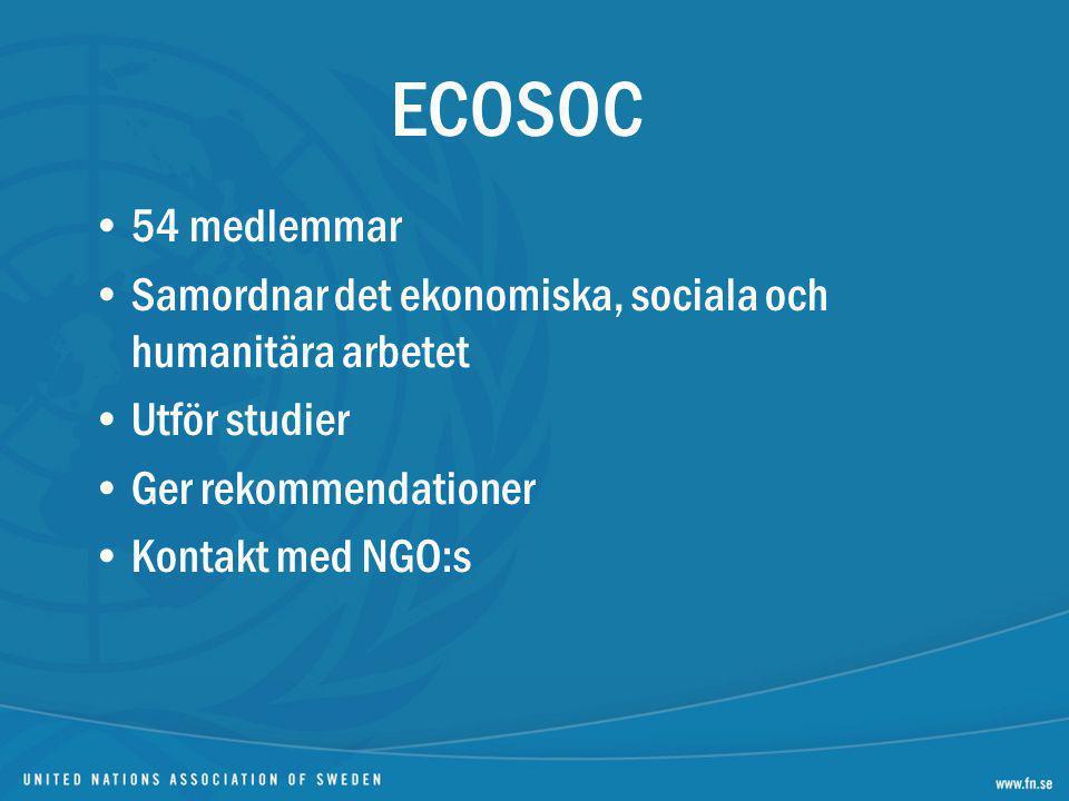 54 medlemmar Samordnar det ekonomiska, sociala och humanitära arbetet Utför studier Ger rekommendationer Kontakt med NGO:s
